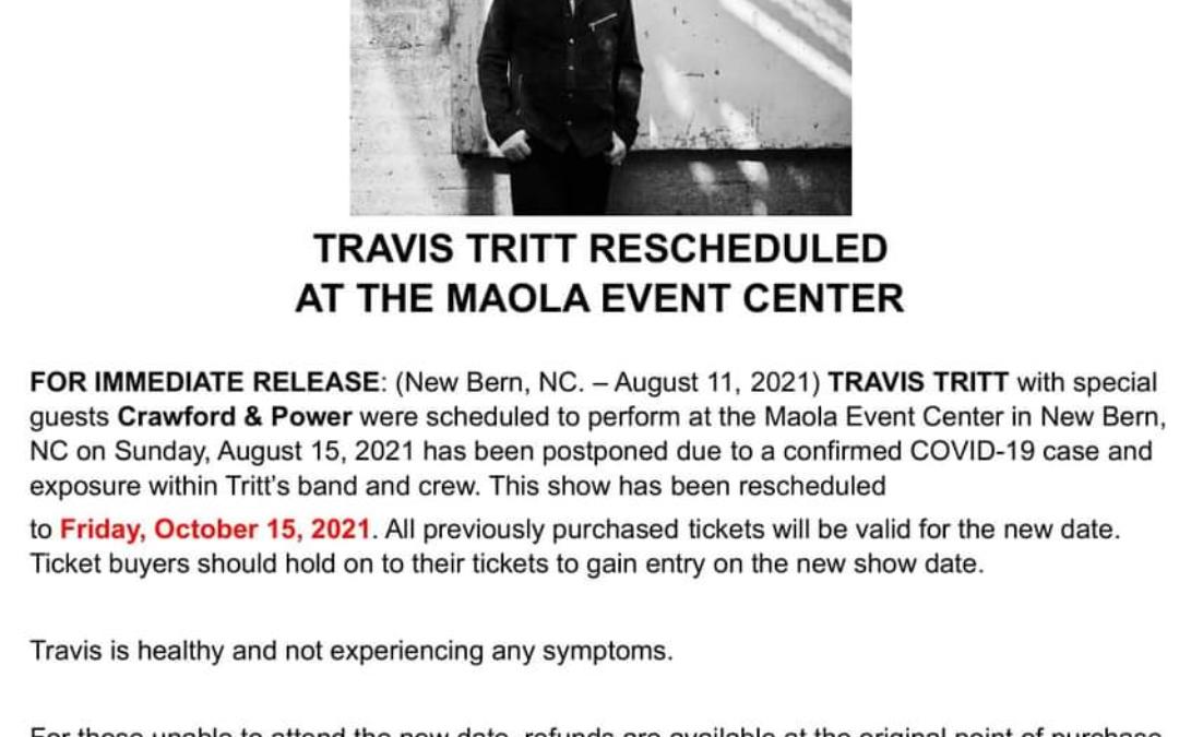 Travis Tritt in the Colonial Capital POSTPONED